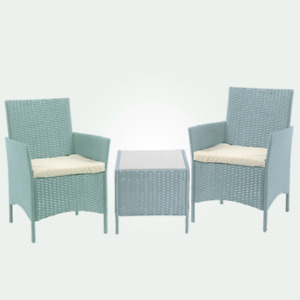 3PC Rattan Garden Furniture Set 2 Armchair with Cushion & Coffee Table Outdoor