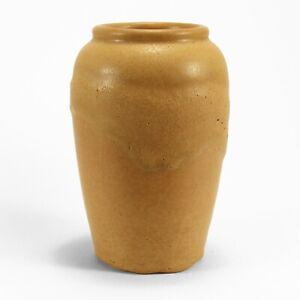 "Hampshire Pottery 7.5"" vase matte yellow thick drip glaze arts & crafts"