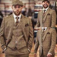 Vintage Striped Herringbone Men Suits 3 Pieces Blazer Waistcoat Pant Formal Work