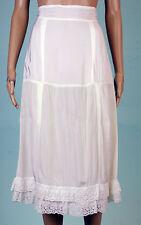 VTG white shiny ruffled rayon long  nylon half slip lingerie skirt Sz S