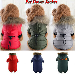 Winter Warm Cotton-padd For Puppy Dog Padded Jacket Hoodie Thick Coat Clothes A+