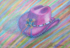 "COWGIRL HAT by American Artist CHRISTINA JOHNS 11""X15.5""  CANVAS PRINT Pink Gift"