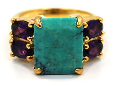 925 SILVER TURQUOISE & AMETHYST RING