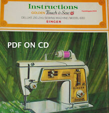 Golden Touch Singer Deluxe Zig Zag Sewing Machine 630 Instruction Manual ON CD