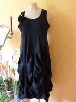 BORIS INDUSTRIES Raff Kleid mit Blume 48 50 (5) NEU! schwarz A-Form LAGENLOOK