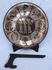 "Egyptian Brass Wall Decor Plate Three Musicans 15.5"""