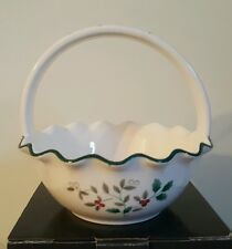 Winterberry pfaltzgraff ruffled bowl with handle NIB Holly Christmas candy dish