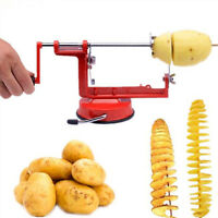 Stainless Steel Manual Potato Vegetable Twister Spiral Slicer Chips Kitchen Cook