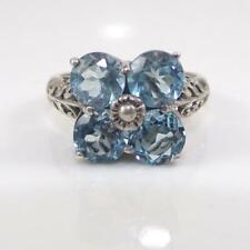 Sterling Silver Blue Topaz Flower Filigree Ring Size 7.5 LFL3