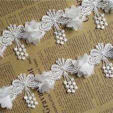 1yard Fringe Butterfly Lace Edge Trim Wedding Dress Ribbon Applique Sewing Craft
