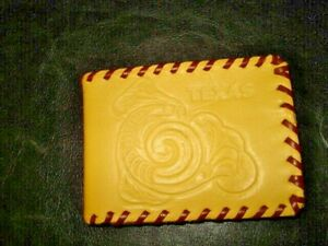 Vintage laced Leather Kids Texas Embossed Wallet w/ dollar & coin compartment