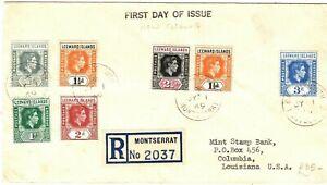LEEWARD ISLANDS KGVI FDC New Colours Montserrat Reg First Day Cover 1949 PB135