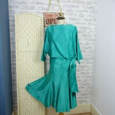 Vintage emerald satin evening dress 80s JOHN HAGARTY Ireland sash draped M D777
