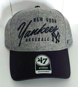 New York Yankees 47 Brand MVP Strapback Vintage Gray Wool Style Cap MLB OSFA