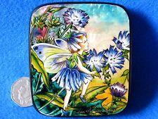 Ruso Pintado a Mano LAQUEADO Caja Achicoria Flor Hadas de la Wayside SILANTYEVA