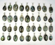 NATURAL LABRADORITE 100 PCs. 925 Sterling Silver Plated Necklace Pendant Jewelry