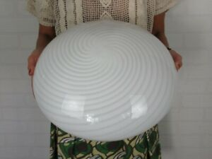 Wall Lamp Ceiling Light Glass Murano White Submerged Spiral 1970