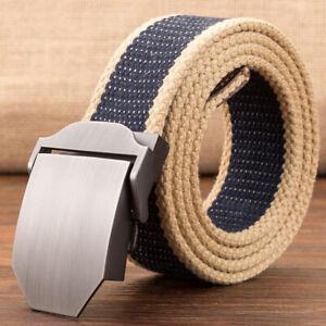 Mens Boy Woven Canvas Belt Metal Automatic Buckle Waistband Strap Waist Jewelry