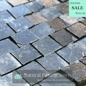 Black Limestone Cobble setts patio paving 100x100x40mm Sawn Edge