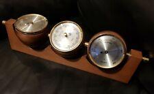 More details for vintage teak mid century wall & desk mount weather station fischer gdr germany