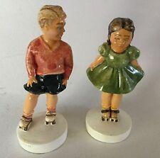 Sebastian Miniature Sidewalk Days Usa Boy 7920 Girl 8110 Rollerskating Vintage
