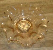 PINK GLASS BOWL DUGAN GLASS CO (1904-1913)  APPLE BLOSSOM PATTERN RUFFLED EDGE