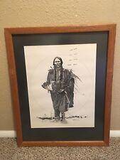 Vintage 1981 Dan Burnett Signed Native American Chief Pencil Drawing Framed