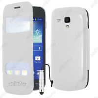 Housse Coque Etui S-View Flip Cover Blanc Galaxy Trend S7560 +Mini Stylet +Film
