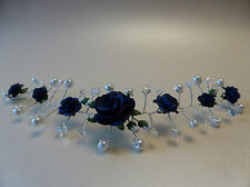 Navy blue rose hair vine Tiara swarovski Crystal Wedding Bridal AB handmade