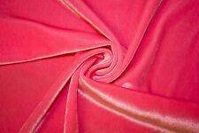 "Hot Pink Lycra Stretch Velvet 90% Polyester 10% Spandex Fabric 55""-56"" Wide BTY"