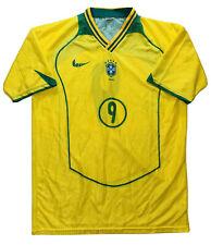 VTG Brazil Mens SZ L Soccer Jersey #9 National Team Omega Sport Yellow EUC
