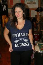 Hogwarts Alumni Harry Potter Graphic V-Neck Ladies Xl T Shirt 50/50 Cotton Poly