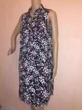 NEW! J. Jill P SMALL Black Red Floral Sleeveless Sheath Shirt Dress Tunic
