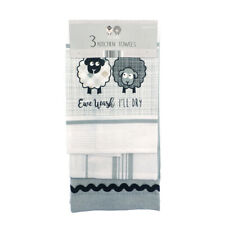 Country Club Ewe and Me Set of 3 Tea Towels Kitchen Dish Pot Cloth Drying Sheep