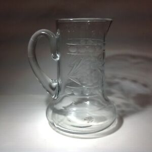 Clear etched glass vintage Victorian antique water jug pitcher