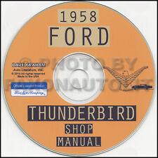 1958 Ford Thunderbird Shop Manual on CD-ROM 58 T Bird Repair Service