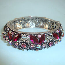 Red Crystal CZ Stone Cuff Vintage Look NEW Silver Bangle Hinged, PROM USA Seller