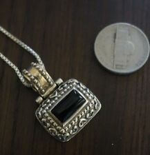 Vintage 925 Sterling Silver feligree black onyx  Pendant   Light Small