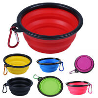 Pet Dog Portable Silicone Collapsible Travel Feeding Bowl Food Water Dish F Q3H6