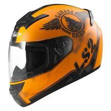 Casques oranges moto pour véhicule fibre de verre
