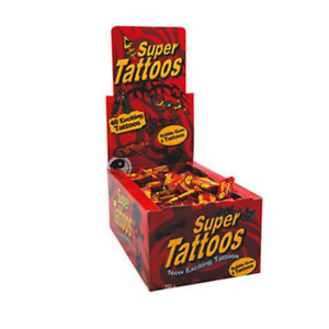 200 x SUPER TATTOOS BUBBLE GUM TUTTI BUBBLEGUM TATTS BULK LOLLIES PARTY FAVOURS