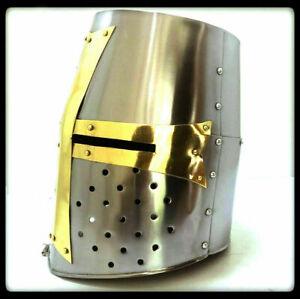 Medieval Knight Armor Crusader Templar Helmet Helm w/ Mason's Brass Cross new