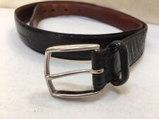 """AUTH COACH $150 EMBOSSED BLACK CALFSKIN LEATHER 36"""" 1"""" SILVER BRASS BUCKLE BELT"""