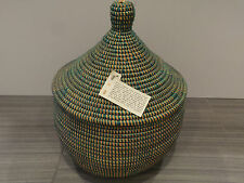"""15"""" HANDMADE SENEGAL AFRICA WOVEN BASKET WITH LID GREEN PLASTIC REED MED AFRICAN"""