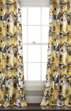 Floral Watercolor Room Darkening Window Curtain Panels Yellow/Gray Set 52x84