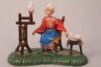 Italienische Krippenfigur Frau mit Spinnrad Weihnachten Dekoration Tischdeko