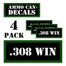 "308 WIN Ammo Can 4x Labels Ammunition Case 3""x1.15"" stickers decals 4 pack"