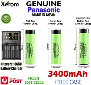 Panasonic NCR18650B 3400mAh Lithium Li-Ion Rechargeable Battery + Charger + Case