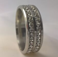 G-Filled Mens white gold simulated diamond wedding ring 8mm band bling US12 AU Y