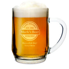 Personalised Beer Tankard 18th 21st ( any age ) Birthday Glass Gift for Him - UK
